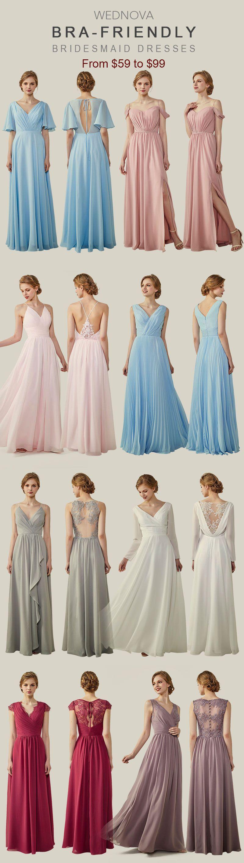 chiffon bridesmaid dresses cup cap bridesmaid dresses long v neck