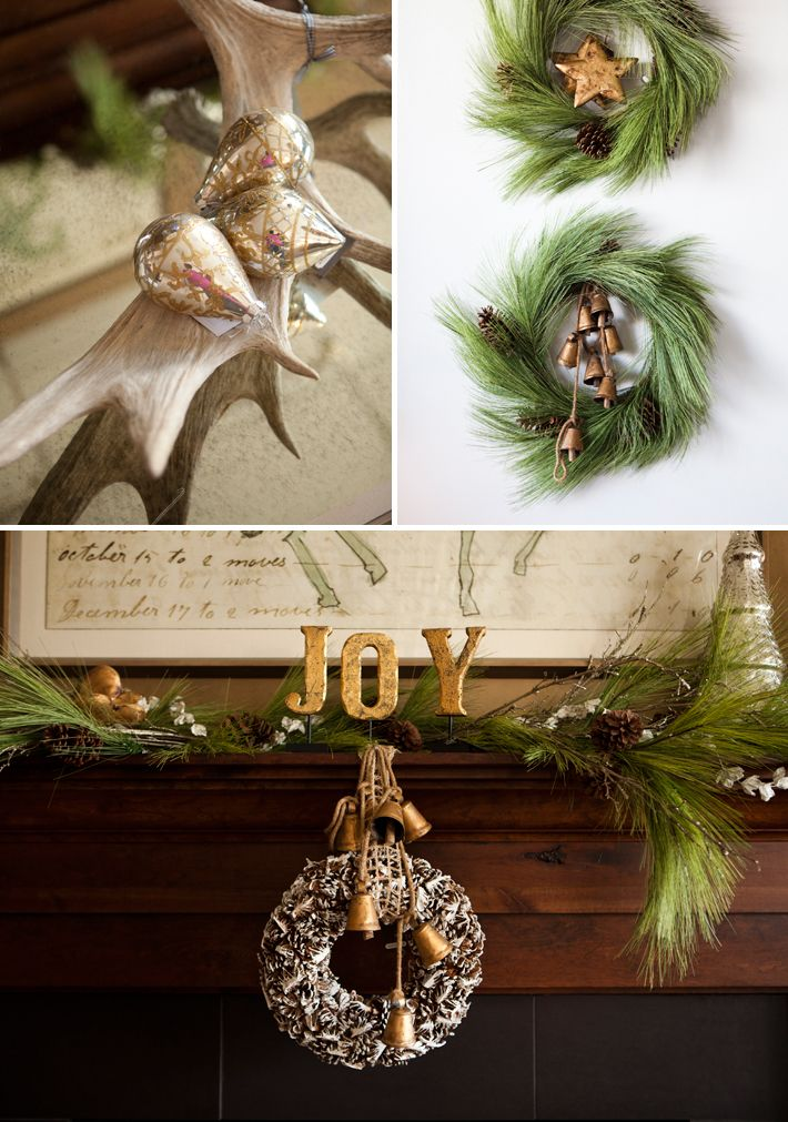 hang a pinecone wreath with jingle bells from the mantle for simple but elegant christmas decor - Simple But Elegant Christmas Tree Decorations