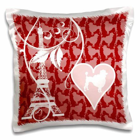 3dRose Paris Poodles and Eiffel Tower Design in Pink, Red and White, Pillow Case, 16 by 16-inch