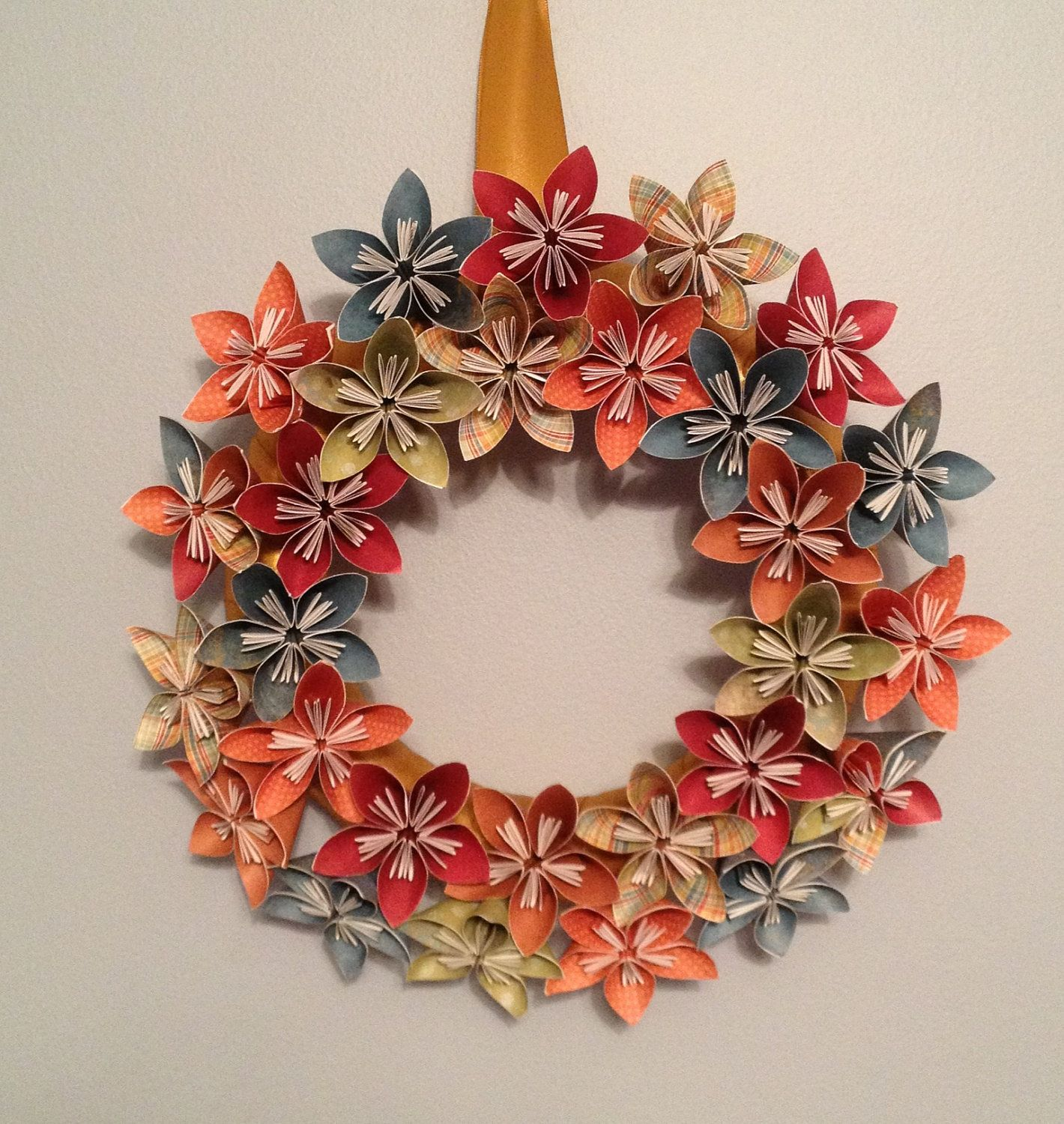 "Origami/Kusudama Paper Flower Wreath 12""/ Flower ... - photo#38"