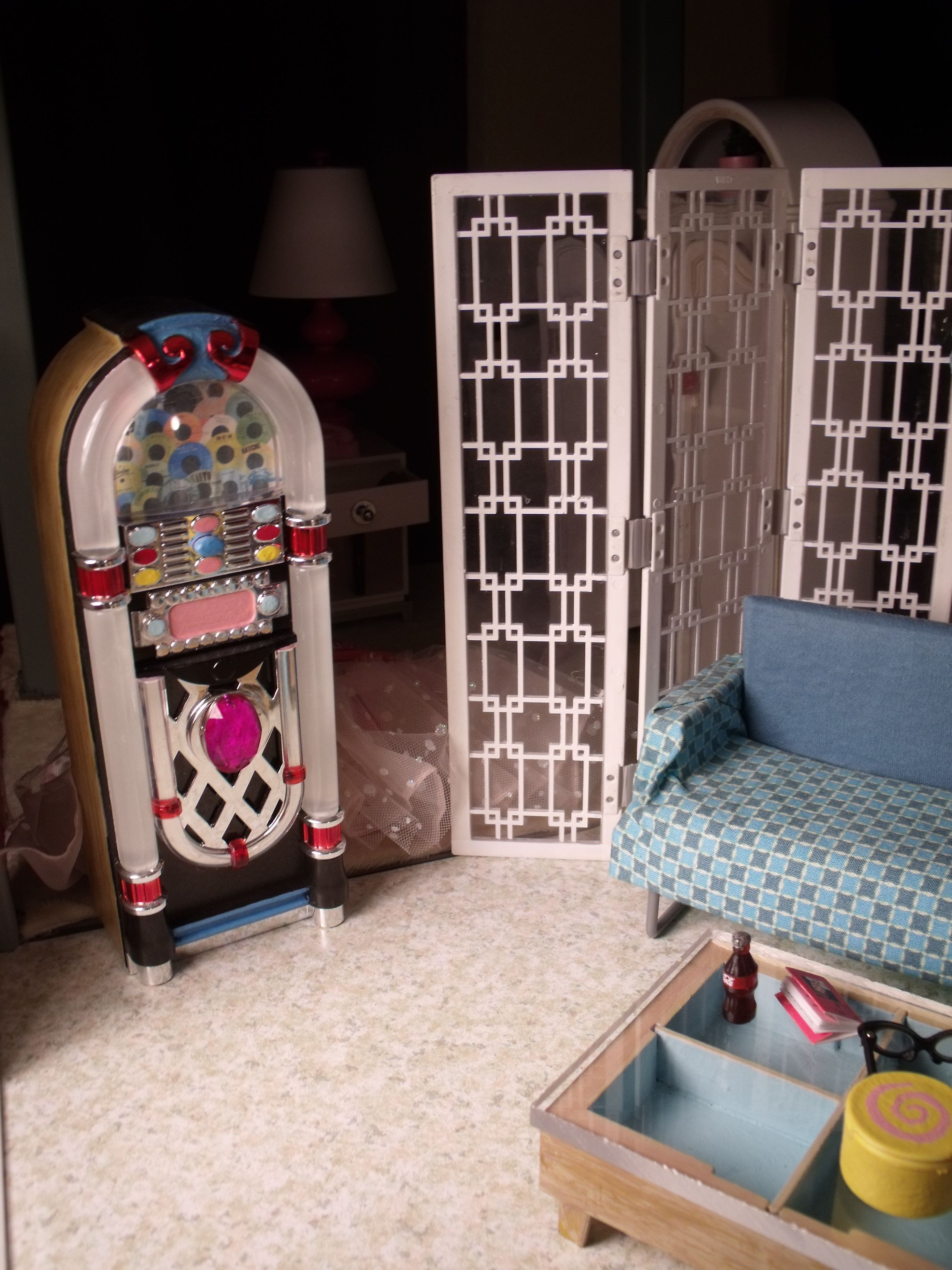 Barbie Doll House Diorama Living Room Jukebox Custom