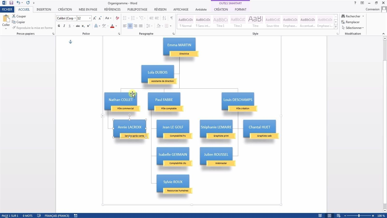 Tutoriel vid o pour apprendre cr er un organigramme word - Realiser un organigramme open office ...
