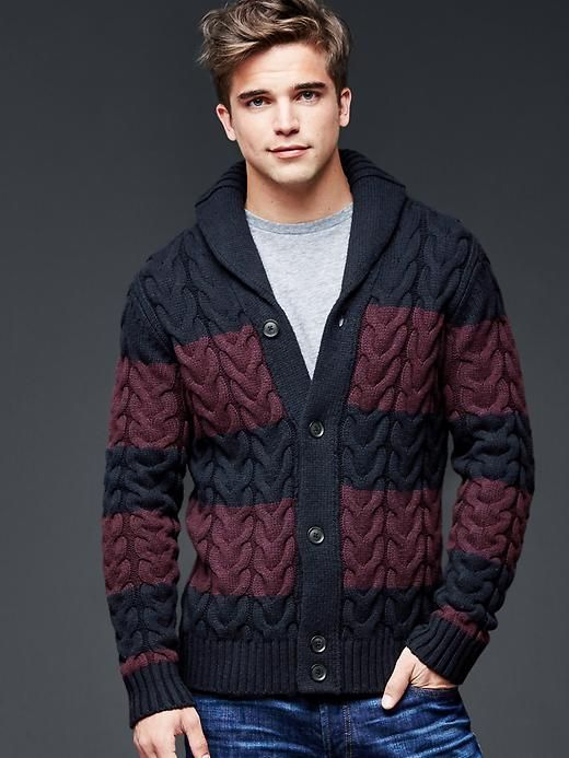 Lambswool shawlneck rugby cable cardigan | Gap | KNIT MEN ...