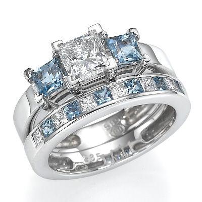 Diamond Ring With Aquamarine Side Stones
