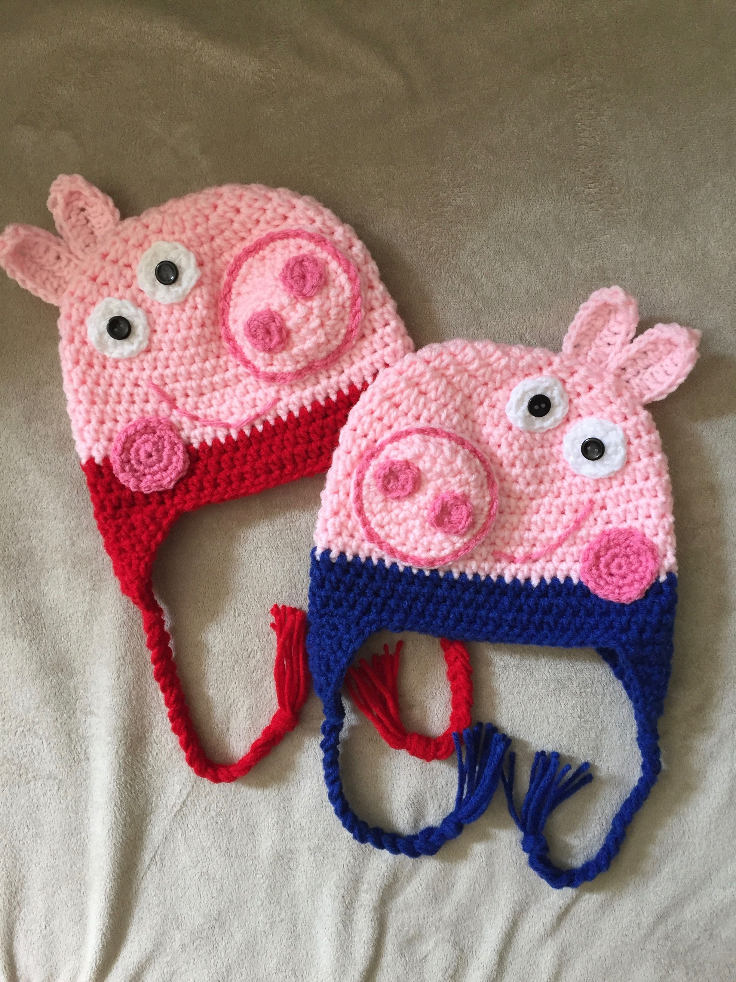 Peppa And George Pig Pattern By Its So Crochet Hats Pinterest