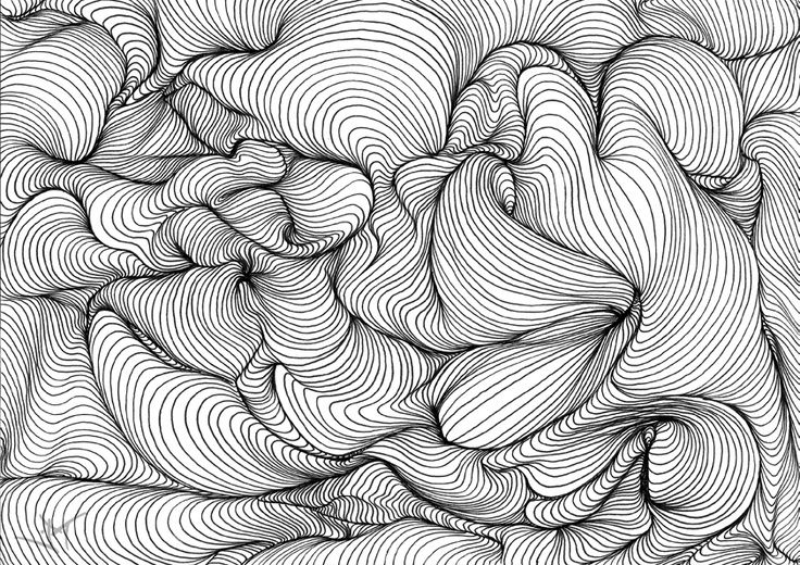 3d Line And Pattern Contour Line Drawing Art Art