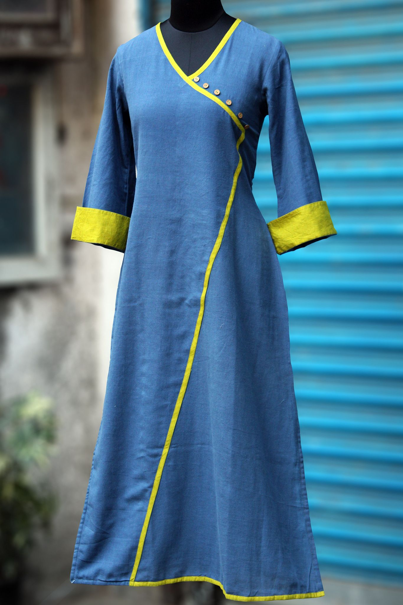 f7e7a0980 a long kurta in indigo khadi, designed to give the kimono look with bell  sleeves! the main & trim fabric is 100% hand spun, hand woven super soft  khadi in