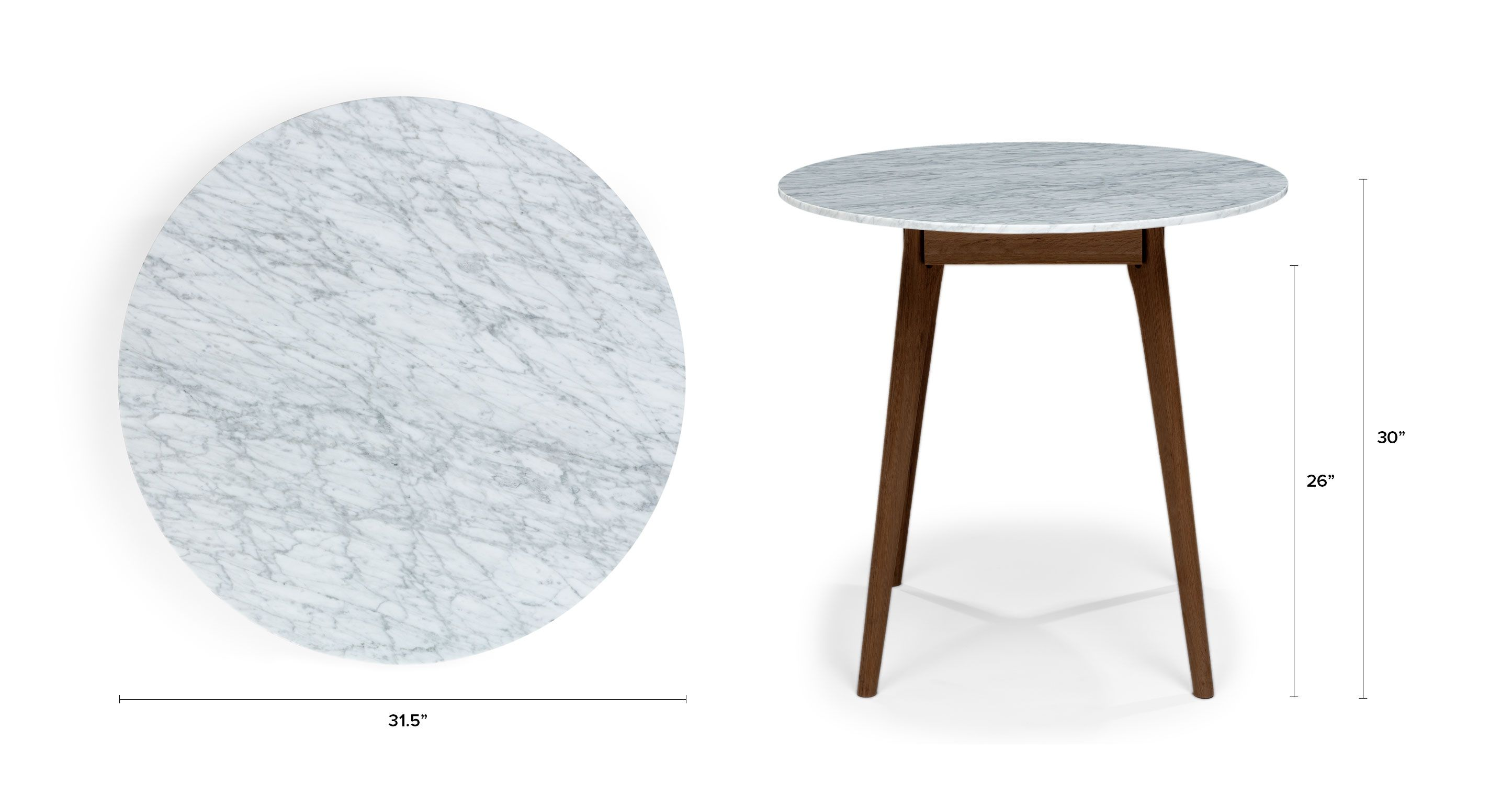 Round Marble Dining Table Walnut Wood