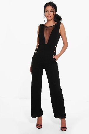 7d5e04fcce  boohoo Mesh Insert Button Detail Jumpsuit - black  Nadia Mesh Insert Button  Detail Jumpsuit