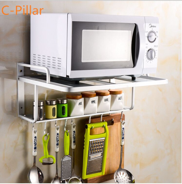 Brand Microwave Oven Shelf Rack Quality Space Aluminum Kitchen Storage Shelf  Useful Wall Cooking Tool Holder