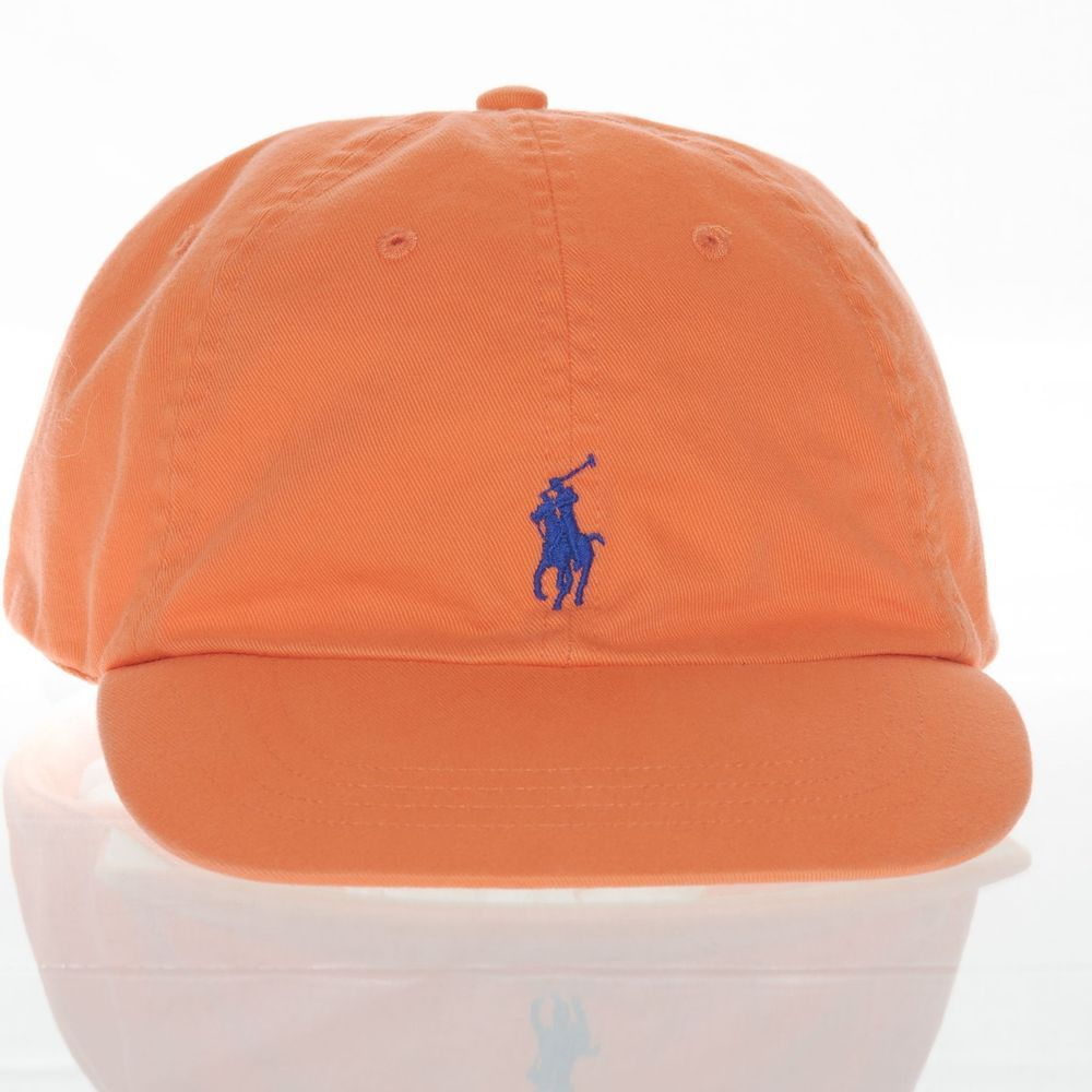da5a4741f17 Polo Ralph Lauren Orange Hat Men s Leather Strap One Size Blue Pony Spell  Out
