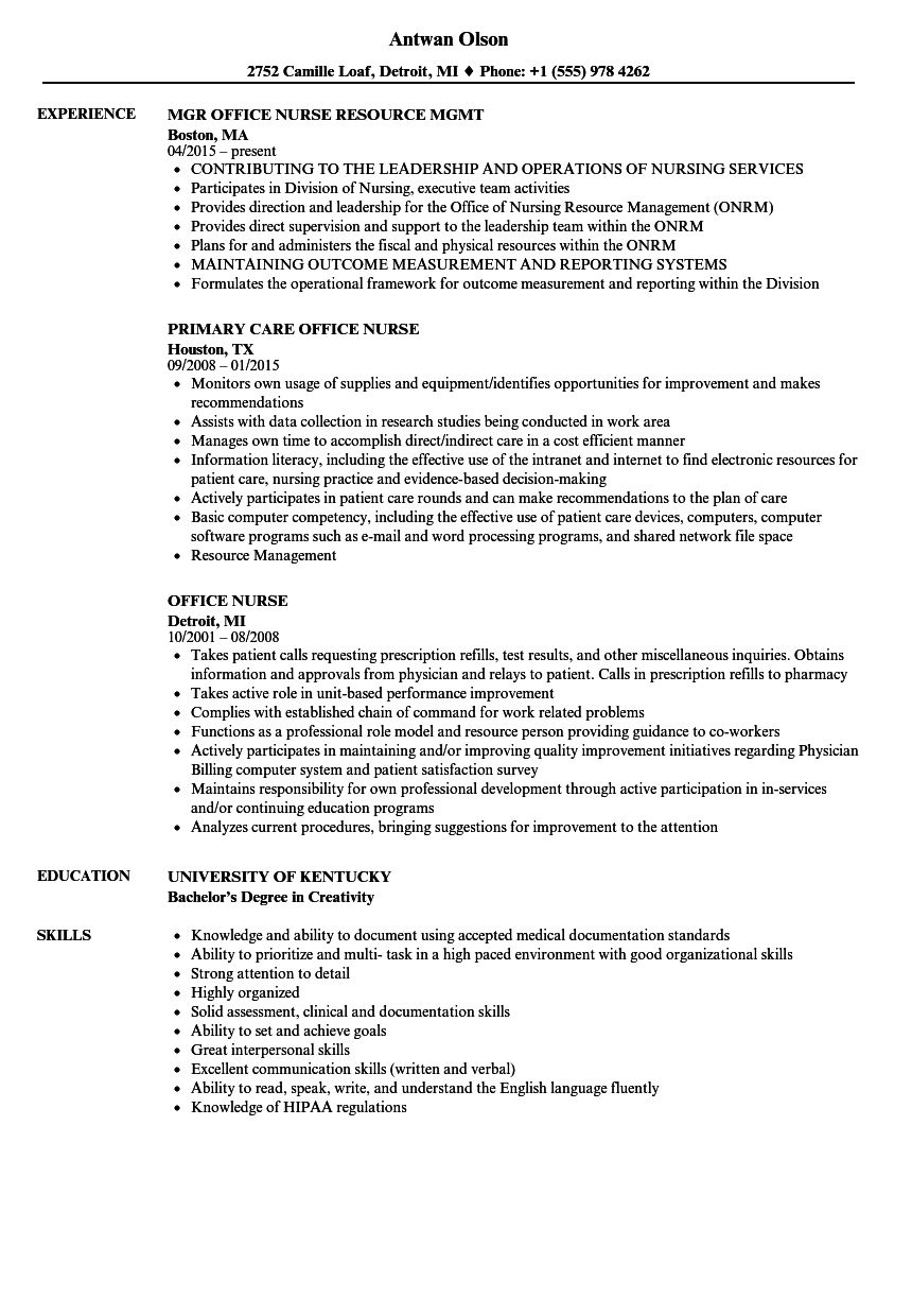 Where to find a resume examples office