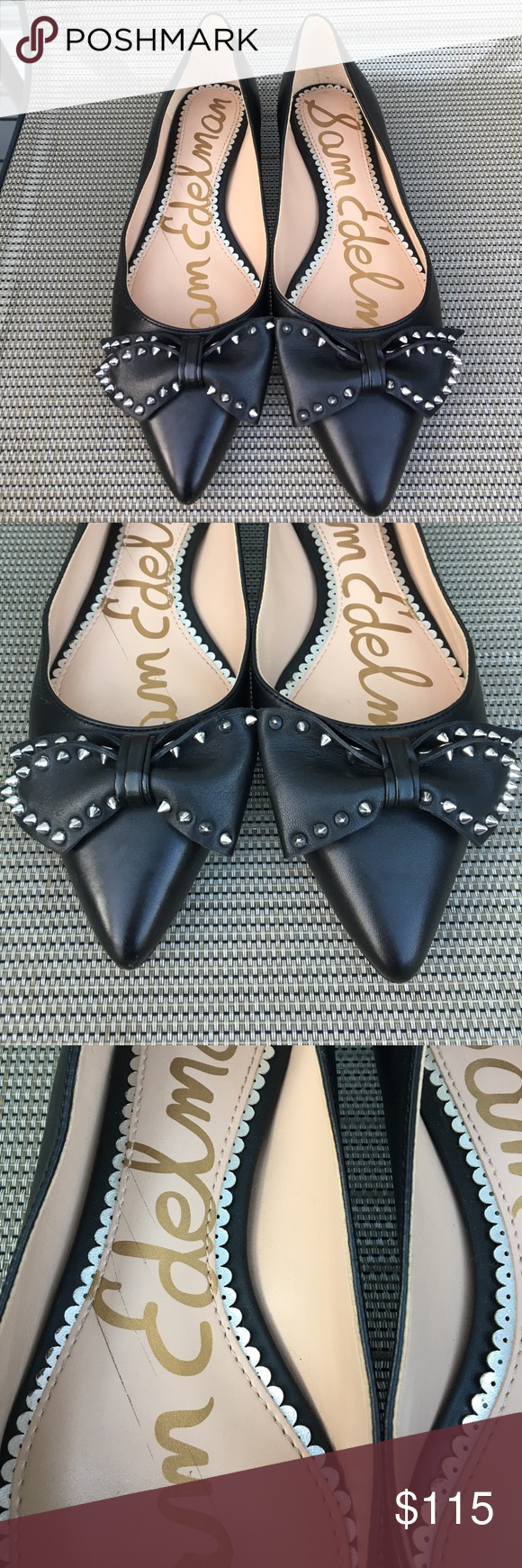 96606db6e45500 Sam Edelman Raisa Bow Flats 6.5 Black Sophistication meets edge with this  pointy-toe flat