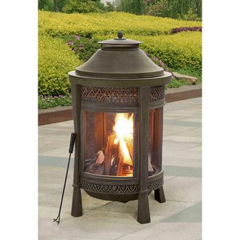 Costco: Sunjoy Brown Outdoor Wood Burning Fireplace ... on Costco Outdoor Fireplace id=63093