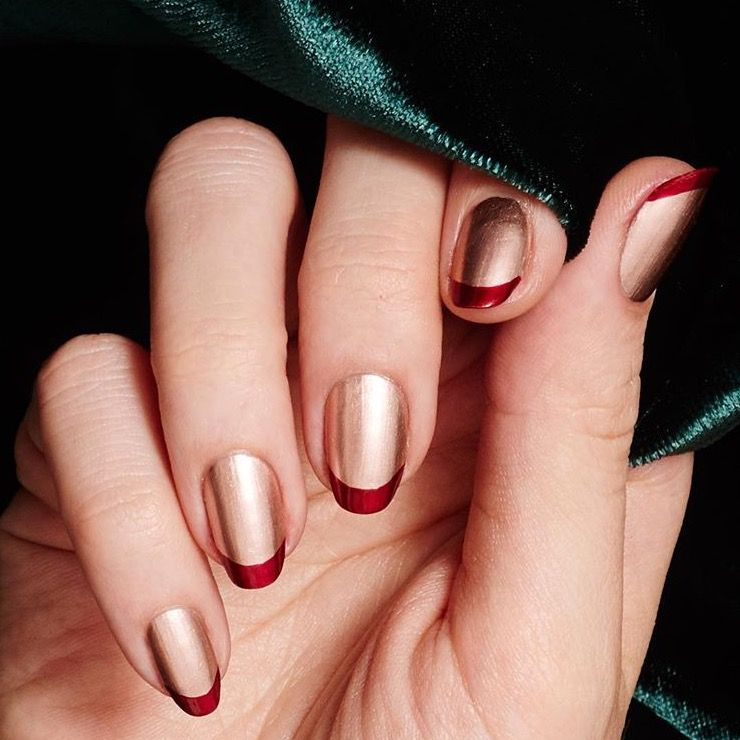 Copper With Cranberry Tips French Manicure Perfect For The Holiday Season Trendy Nails Metallic Nails Design Red Nails