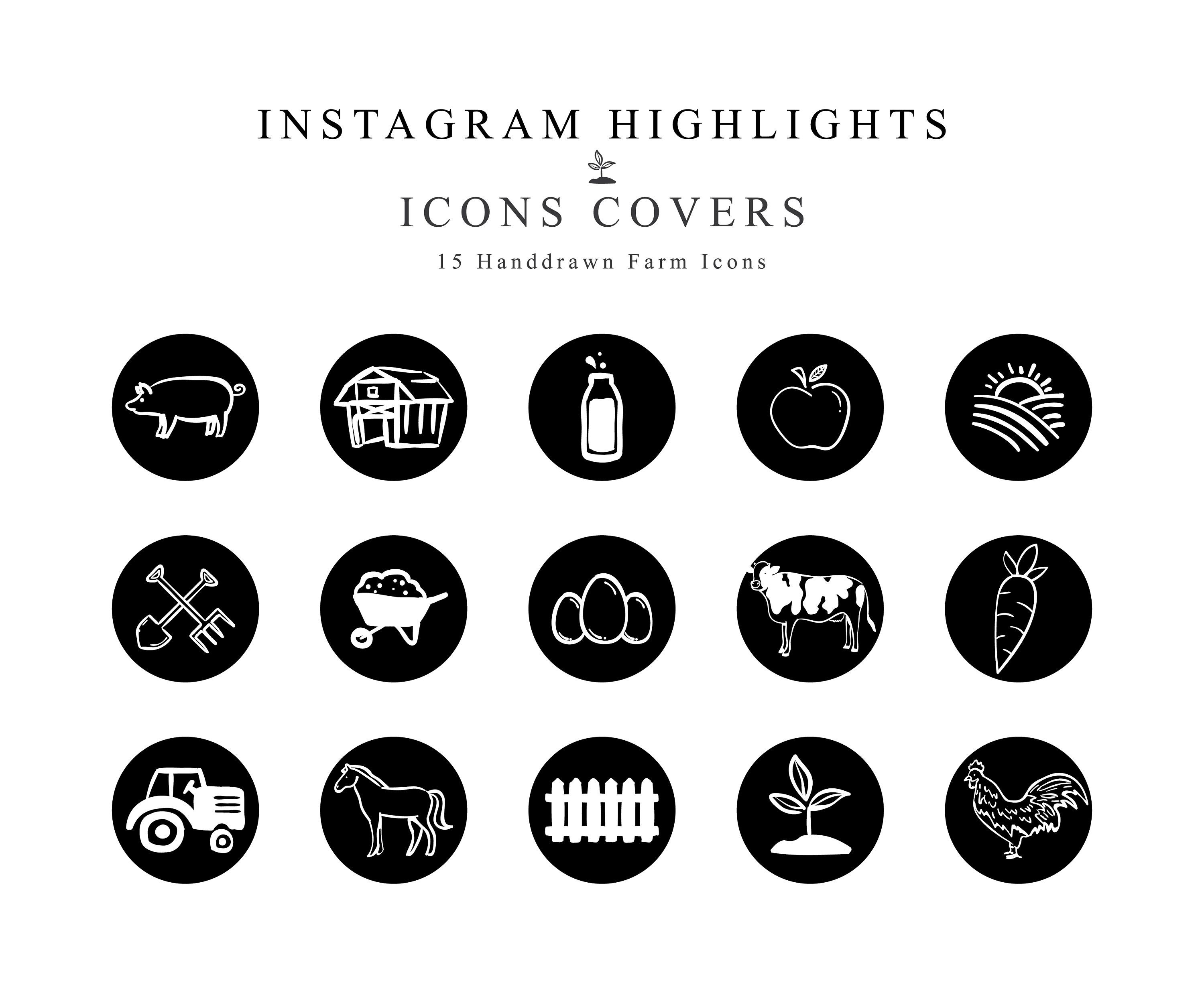Instagram Story Highlights Cover Icons Farm Handdrawn