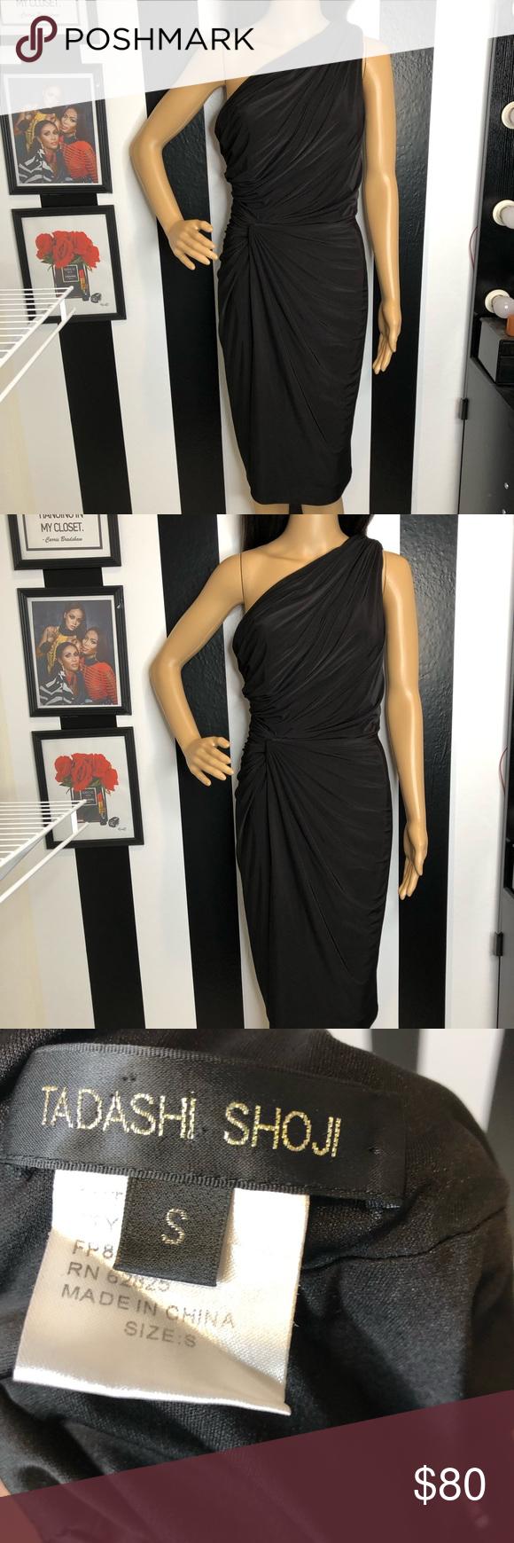 Tadashi Shoji Black One Shoulder Dress Brand Tadashi Shoji Size Color Black Features One Shoulder Twist Black One Shoulder Dress Dress Brands Event Dresses [ 1740 x 580 Pixel ]