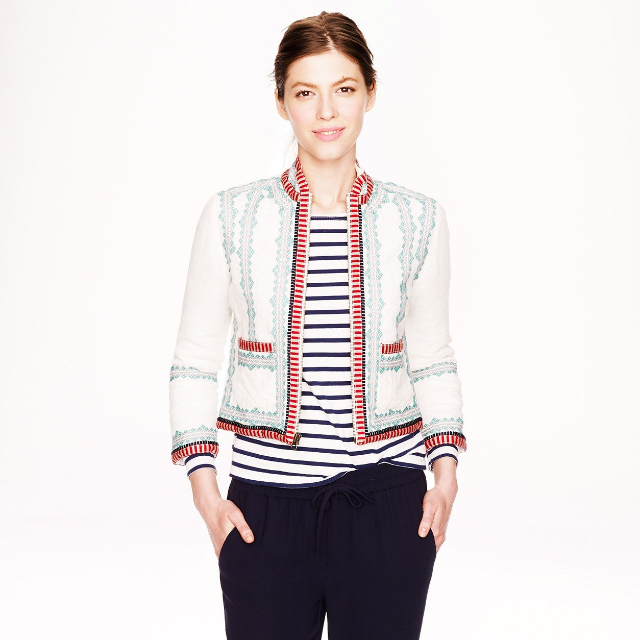 Collection embroidered linen jacket - outerwear & blazers - Women's collection - J.Crew #workstyle #workwear