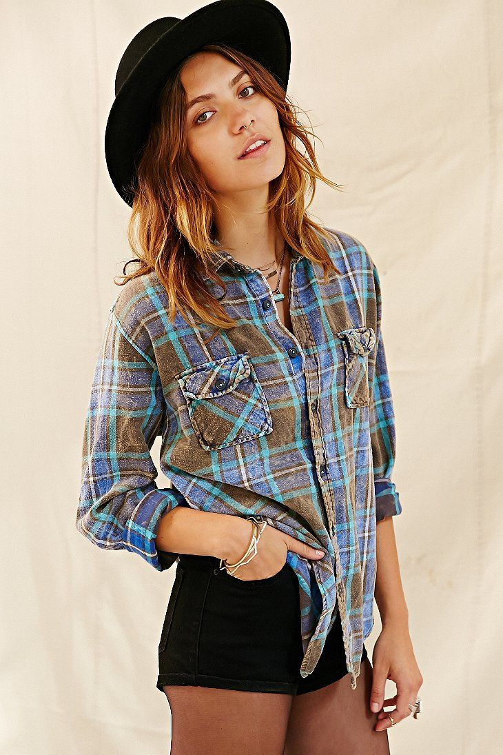 Flannel shirt with shorts  Urban Renewal Washed Out Flannel Shirt  Urban Outfitters
