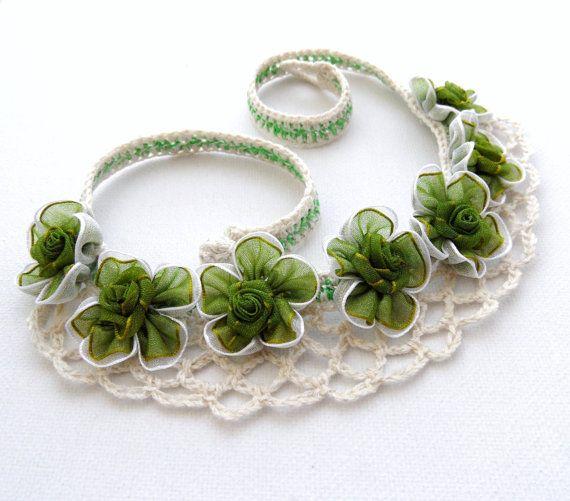 Crochet Necklace Natural Linen and Organza by CraftsbySigita,