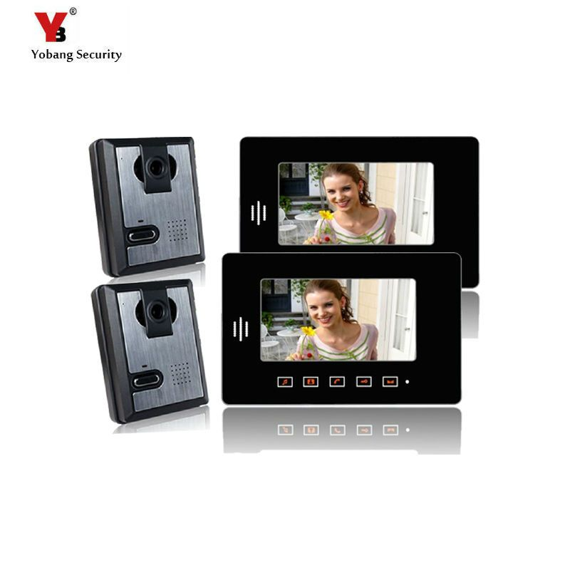 Yobang Security 7 Apartment Entry Door Phone System 2 Monitors 2 Cameras Video Intercom Doorbell Kit Apartment Security Apartment Entry Entry Doors
