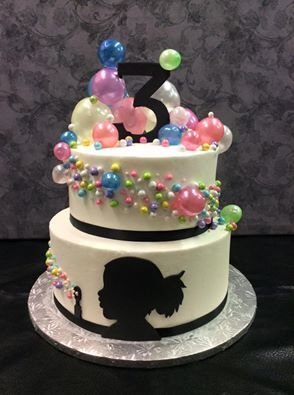 Astounding Girl Silhouette Blowing Bubbles Cake With Images Bubble Cake Personalised Birthday Cards Paralily Jamesorg
