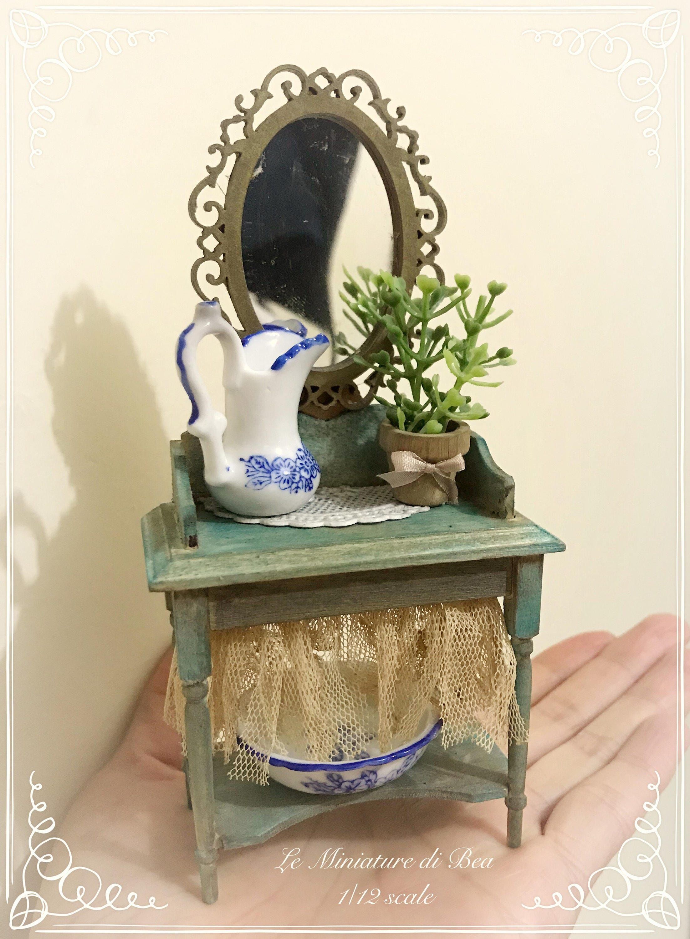 1:12 set furniture vanity and accessories dollshouse miniature hand made by Bea.