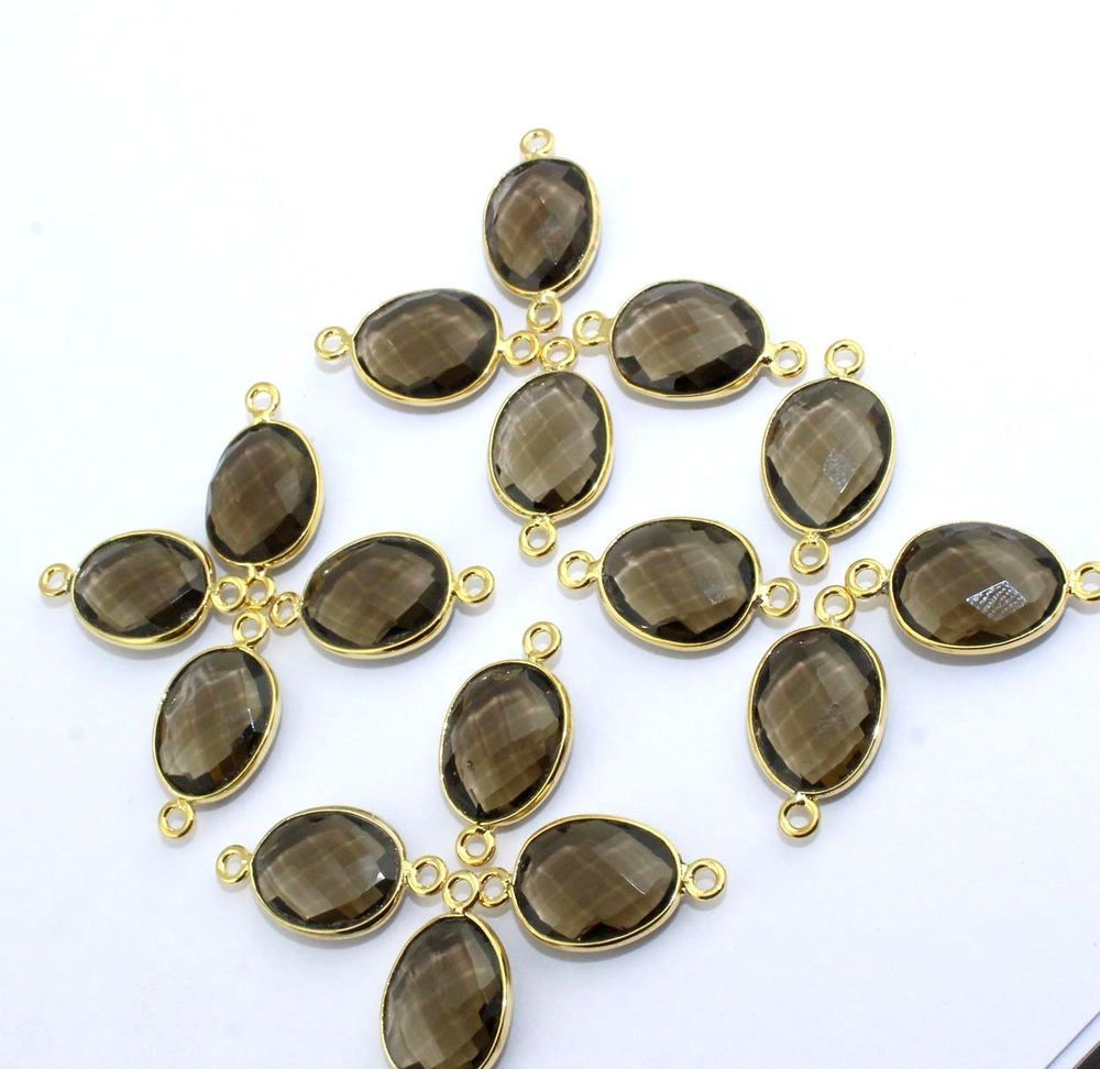 Black onyx Gold Plated Bezel Gemstone Double Bail Connector Charm Jewelry Findings Supply gemstone connector DIY Jewelry Making Supply