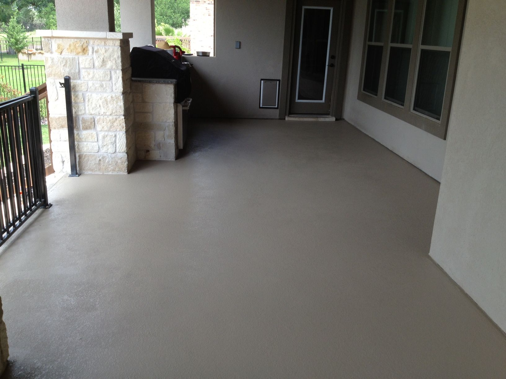 custom painted concrete patio custom color created to match the
