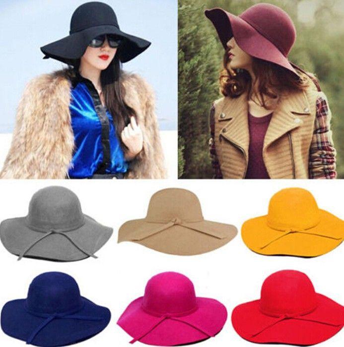 67e995613f0 2015 Fashion Style Soft Women Vintage Retro Wide Brim Wool Felt Bowler  Fedora Hat Floppy Cloche Big Brim Chapeu Hat for Women