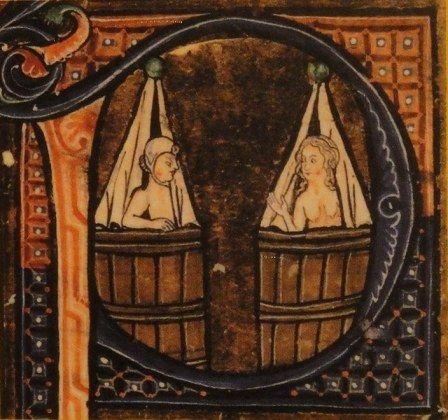 """Stufa – miniatura del """"Regime dei Corpi"""" di Aldobrandino da Siena, XIV secolo."""