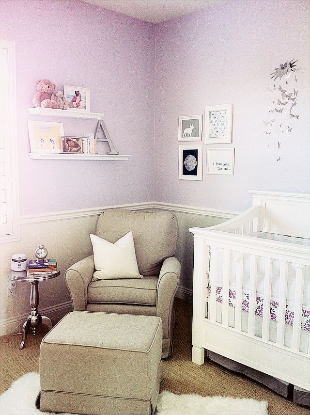 Lavender and grey nursery. Adorable, and not overly girly