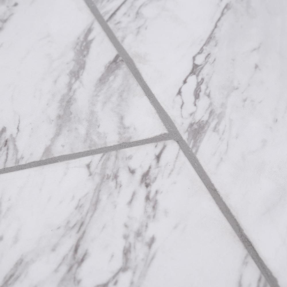 Trafficmaster Carrara Marble 12 In X 24 In Peel And Stick Vinyl Tile 20 Sq Ft Case Ss1212 The Home Depot Vinyl Tile Marble Vinyl Peel And Stick Vinyl