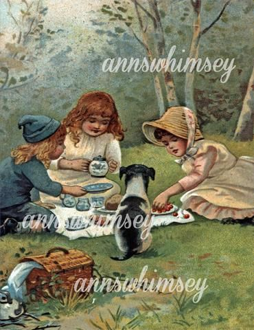 Little Girls and Dog Having Tea Party, Great Antique Restored Print, Art Print for Little Girl's Room #343