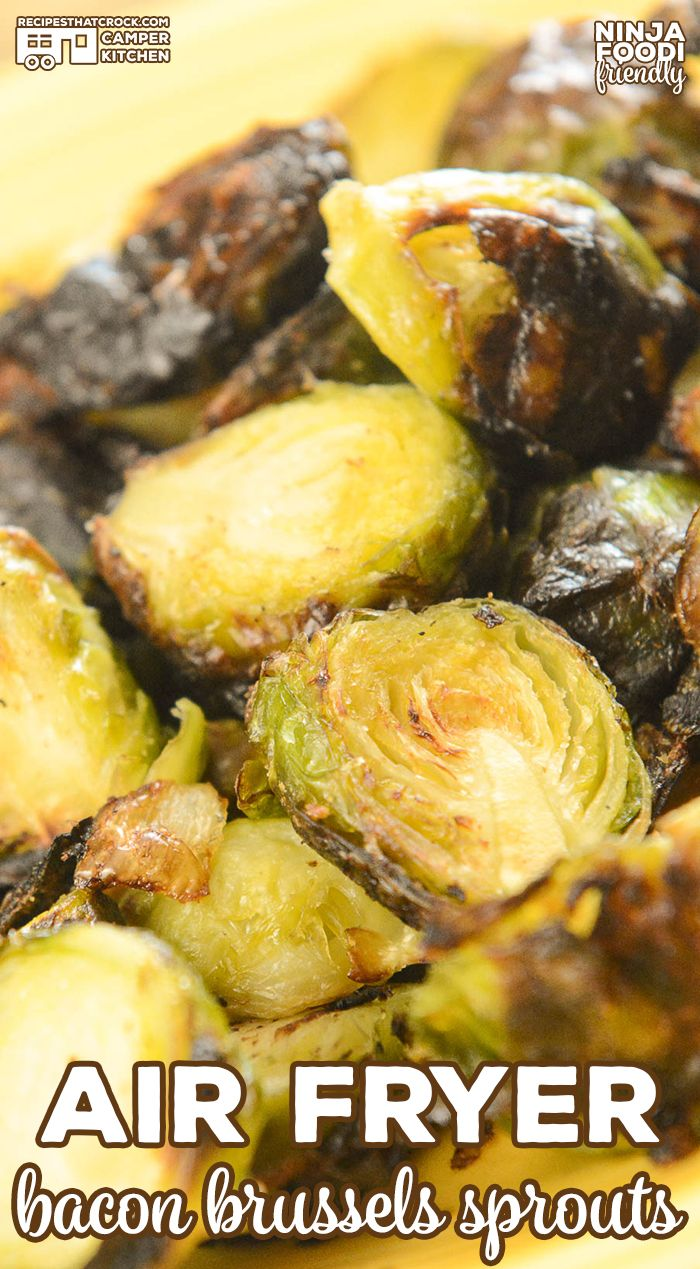 Are you looking for a delicious side dish recipe? Our Air Fryer Bacon Brussels Sprouts is our favorite low carb salty snack or side to make in our Ninja Foodi! #favoriterecipes