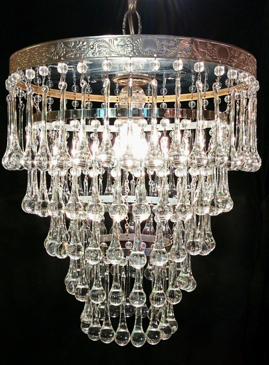 1940's five tier Italian droplet chandelier with reflective top. Dimensions: 12 diameter x 13' Height