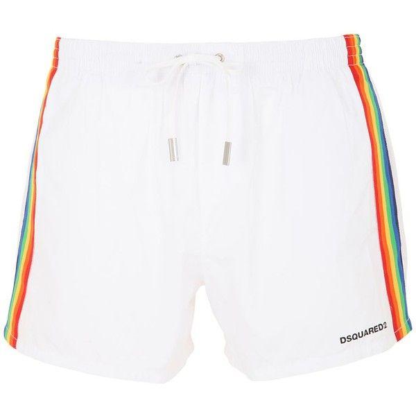 0fa4763e3f588 Dsquared2 Underwear Men Rainbow Printed Swim Shorts ($260) ❤ liked on  Polyvore featuring men's fashion, men's clothing, men's swimwear, white,  mens ...