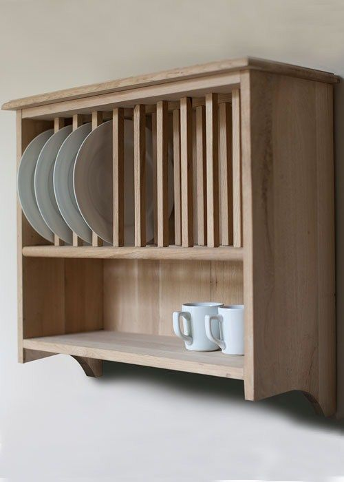 Hambledon Raw Oak Wall Mounted Plate Rack At Www Gardentrading Co Uk