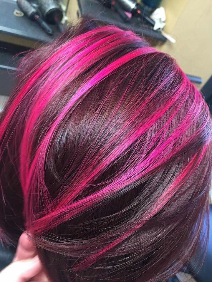 Red Violet Pink Magenta Peekaboo Highlights Pinkhair Redhair Peekaboo Https M Facebook Com Madhattersalon Magenta Hair Hair Highlights Hair Styles