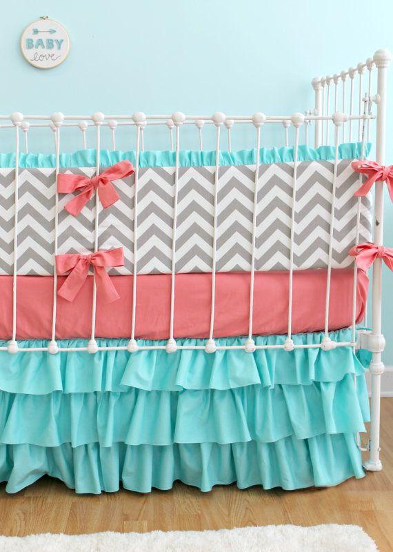 coral turquoise chevron baby bedding custom babylottiedababy