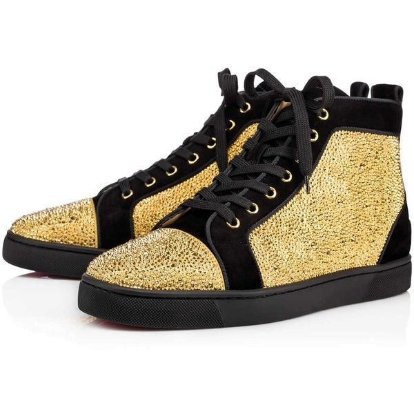 3ca244427607 CHRISTIAN LOUBOUTIN Louis Strass Men S Flat Version Black Gold ...