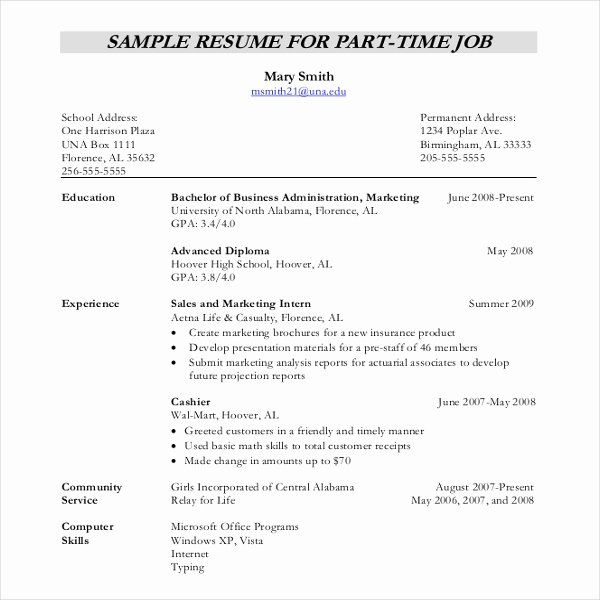part time job resume inspirational 12 resume writing template  u2013 free sample example format