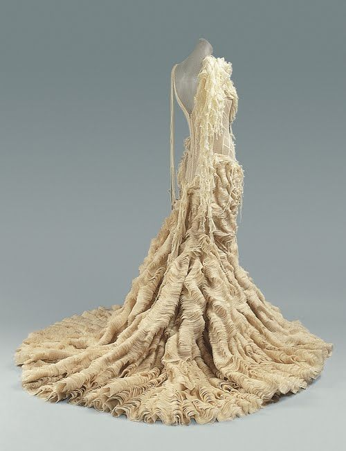 """Madeleine Vionnet (1875-1975) was the """"Queen of the bias cut"""" and became famous for her Grecian-style dresses.  This gown is c. 1938."""