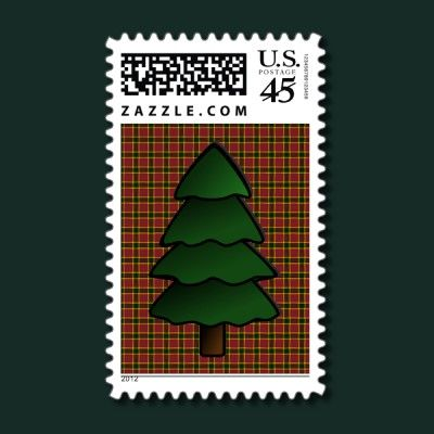 Christmas tree on burgundy plaid stamp