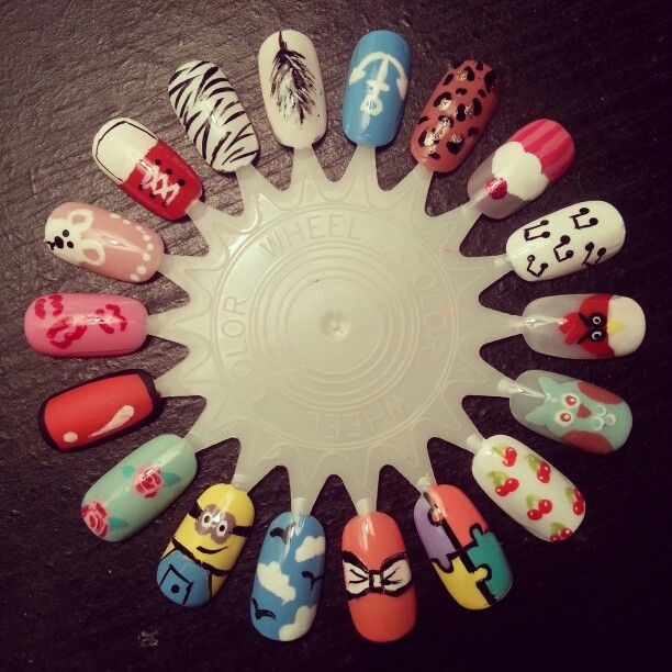 My first completed nail art wheel! :) very happy with the results ...