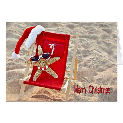 Tropical Christmas Santa Starfish Card Tropical christmas