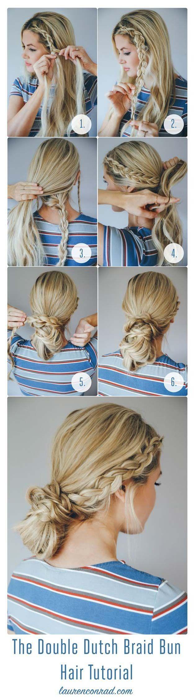 Festival hair tutorials the double dutch braid bun short quick
