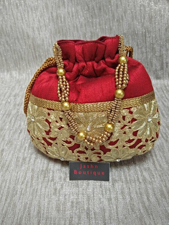 Vintage Silk Indian potlibag women hand purse party | Party