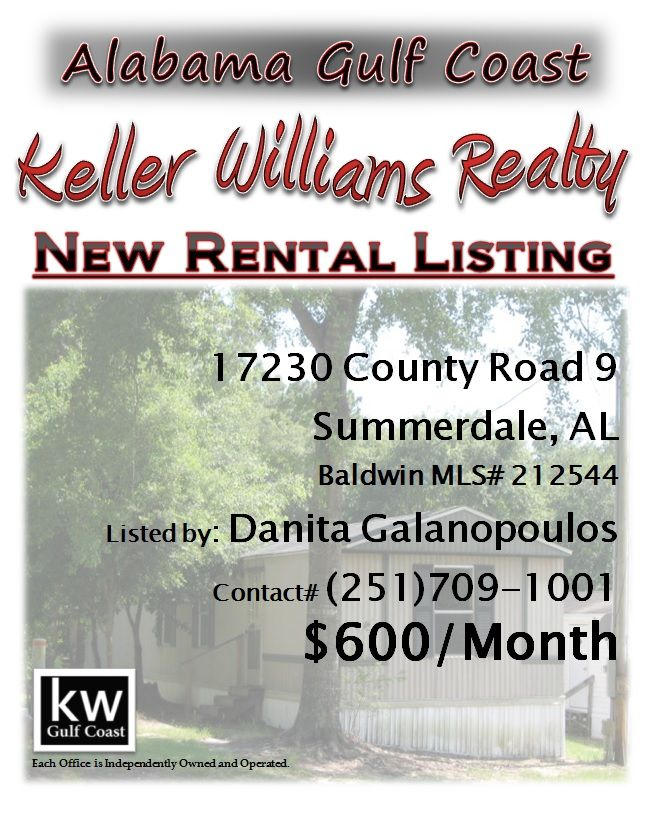 NEW RENTAL LISTING: 17230 County Road 9, Sumale, AL...MLS ... on 2 bedrooms home, 2 bedrooms houses, 3 bedrooms for rent, 2 bedrooms apartment, 4 bedrooms for rent,