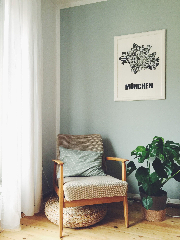 Gr nt ne alpina sanfter morgentau ikea monstera retro sessel stoff stil kissen - Poster wohnzimmer ...